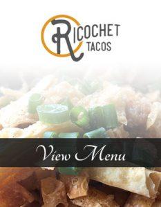 Ricochet's outdoor dining menu