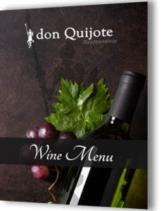 wine menu of don Quijote
